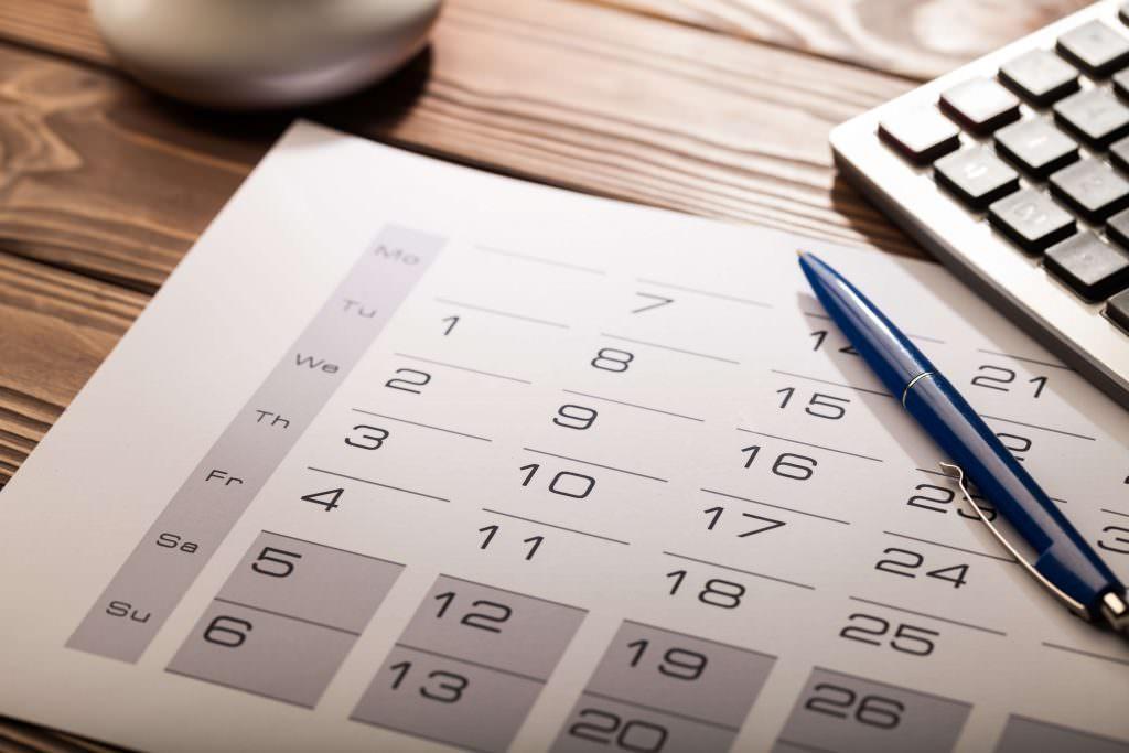 printed calendar on desk