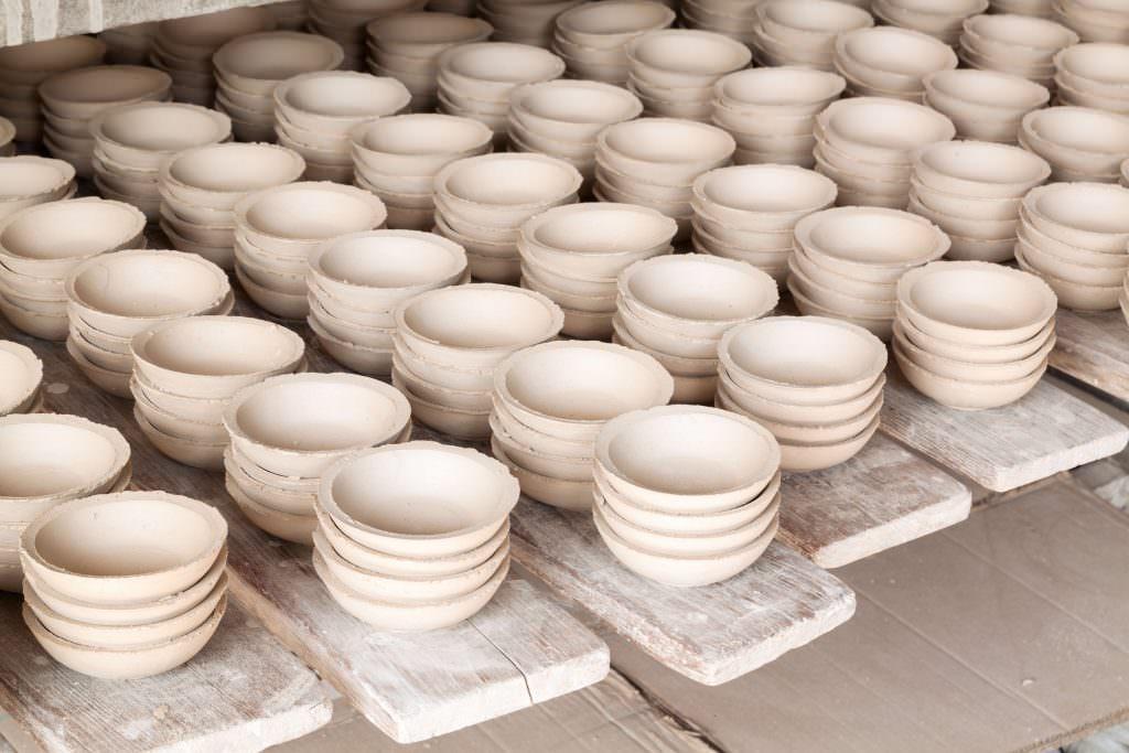 Rows of ceramic bowls