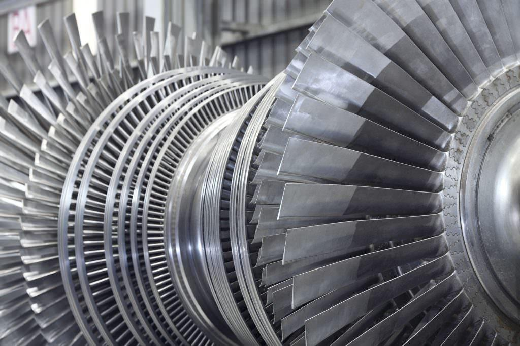 close up of a gas turbine